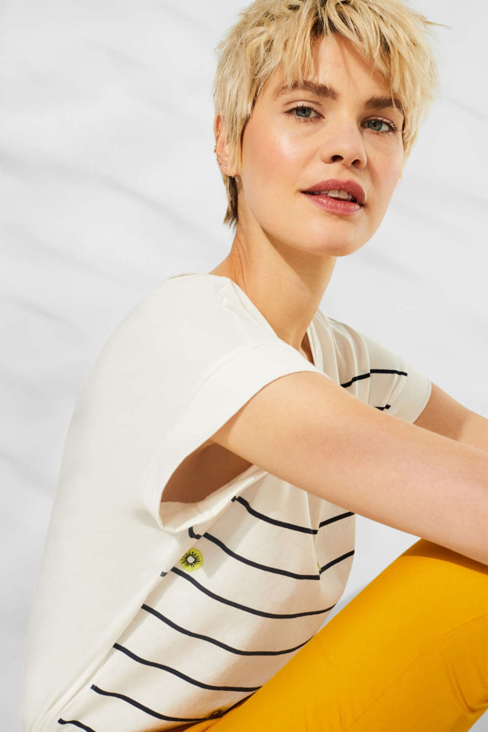 Striped top with embroidered details, 100% cotton, OFF WHITE, detail image number 6