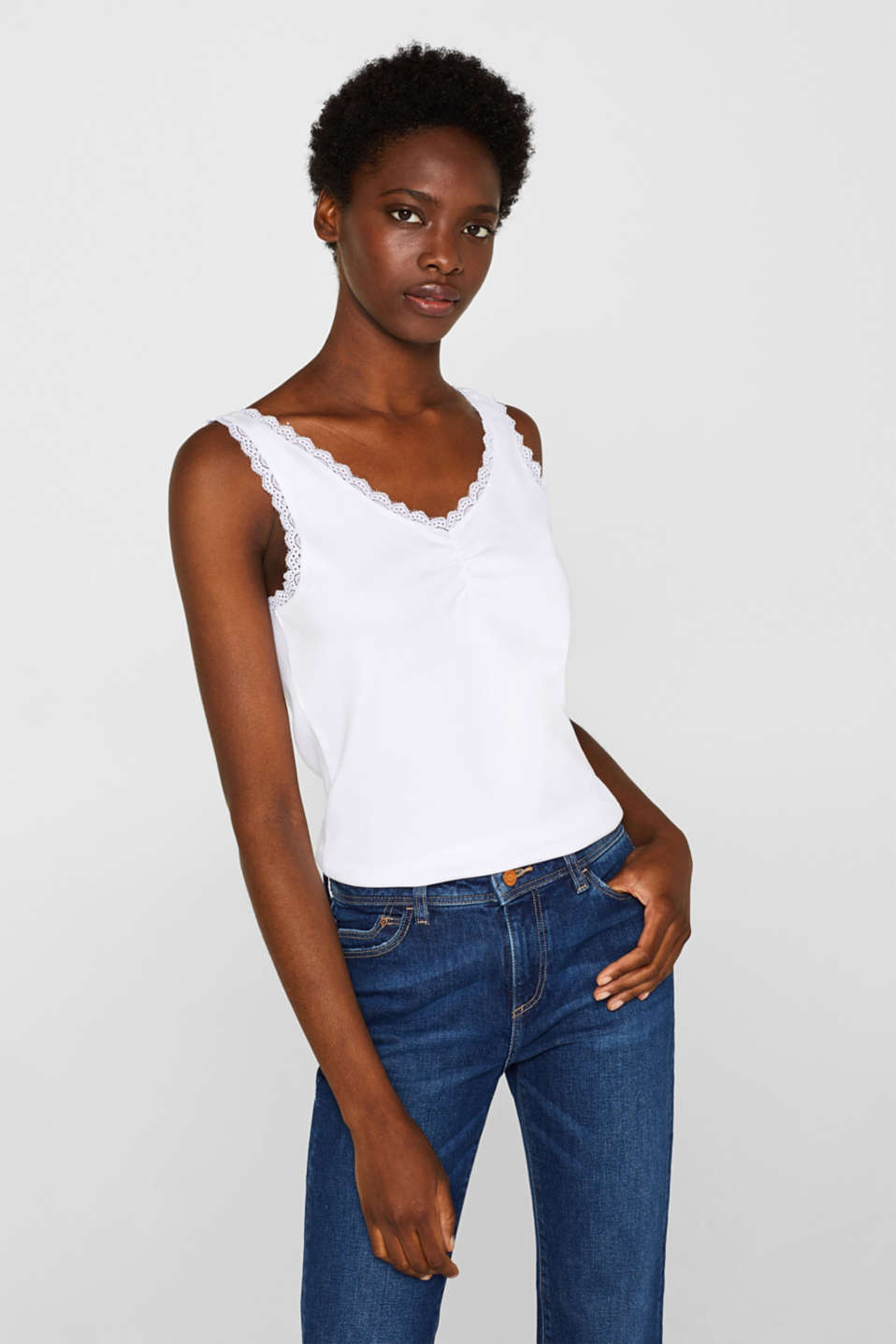 edc - Top with lace and organic cotton