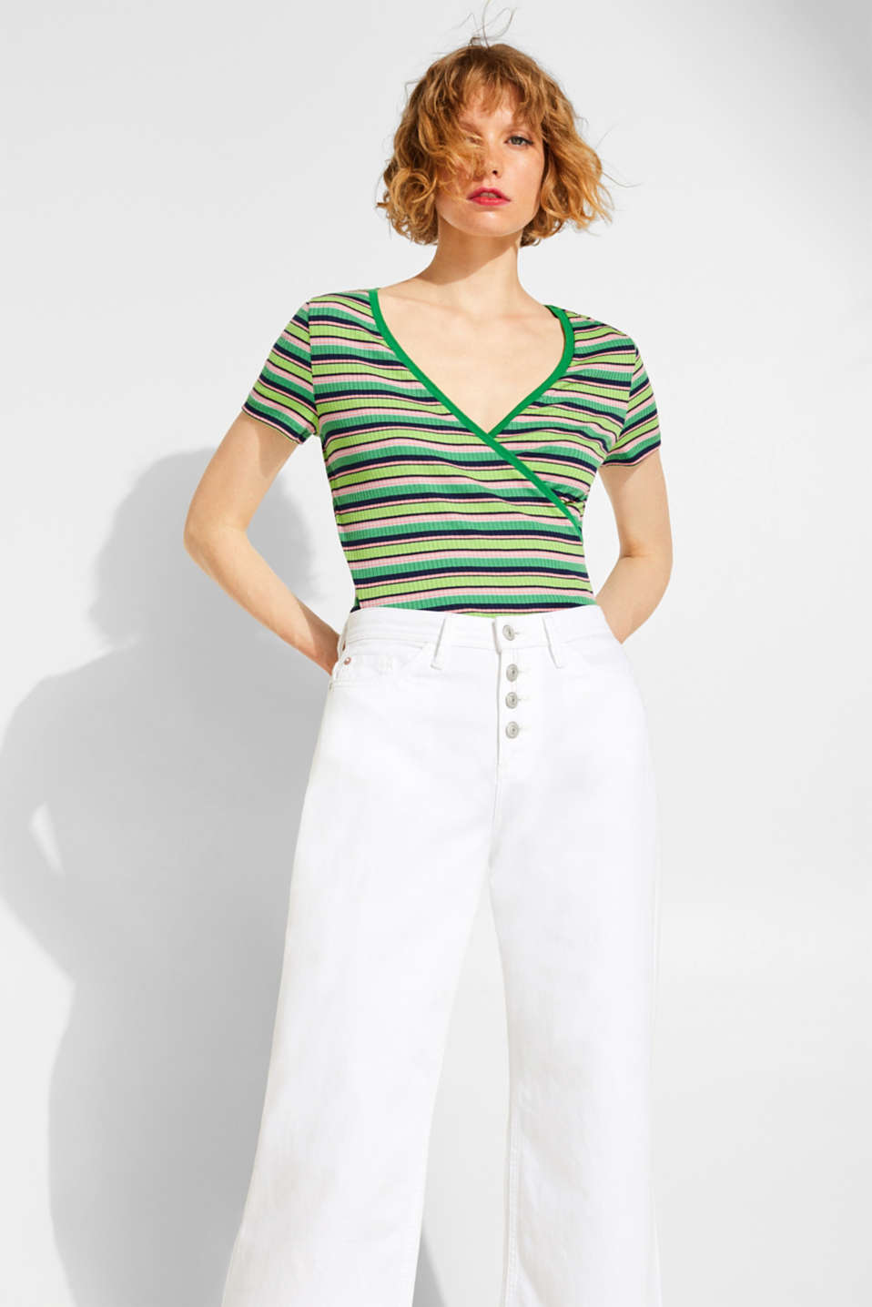 edc - Stretch top with ribbed texture and wrap effect