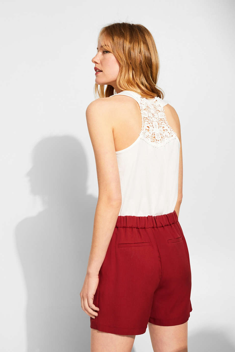 Jersey top with a racer back in crocheted lace, OFF WHITE, detail image number 3