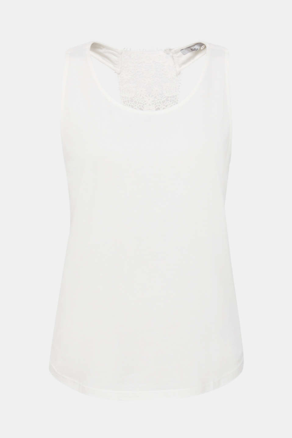 Jersey top with a racer back in crocheted lace, OFF WHITE, detail image number 7
