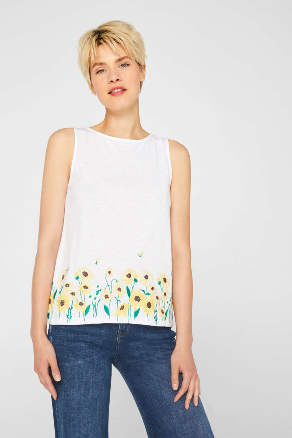edc - Sleeveless top with floral embroidery, 100% cotton