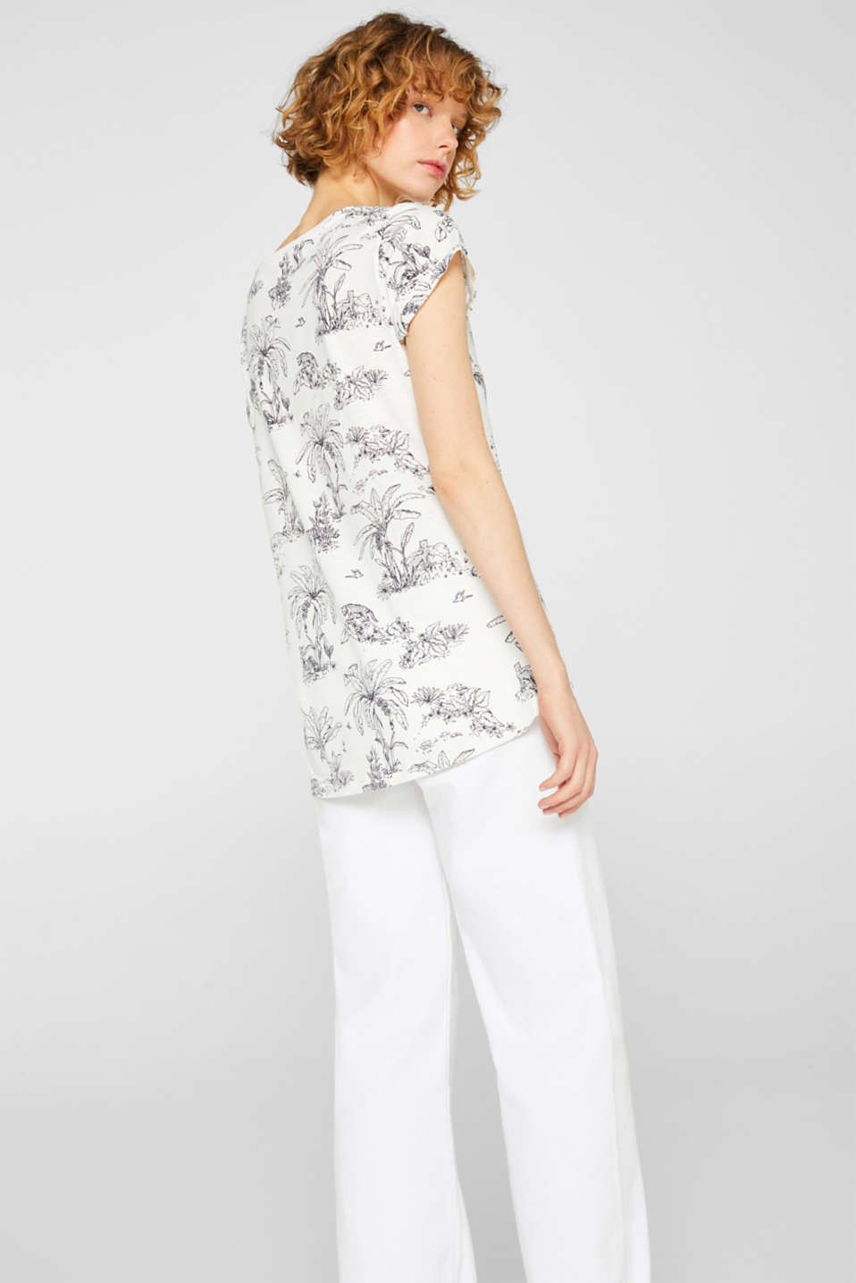 edc - Slub top with a jungle print, 100% cotton