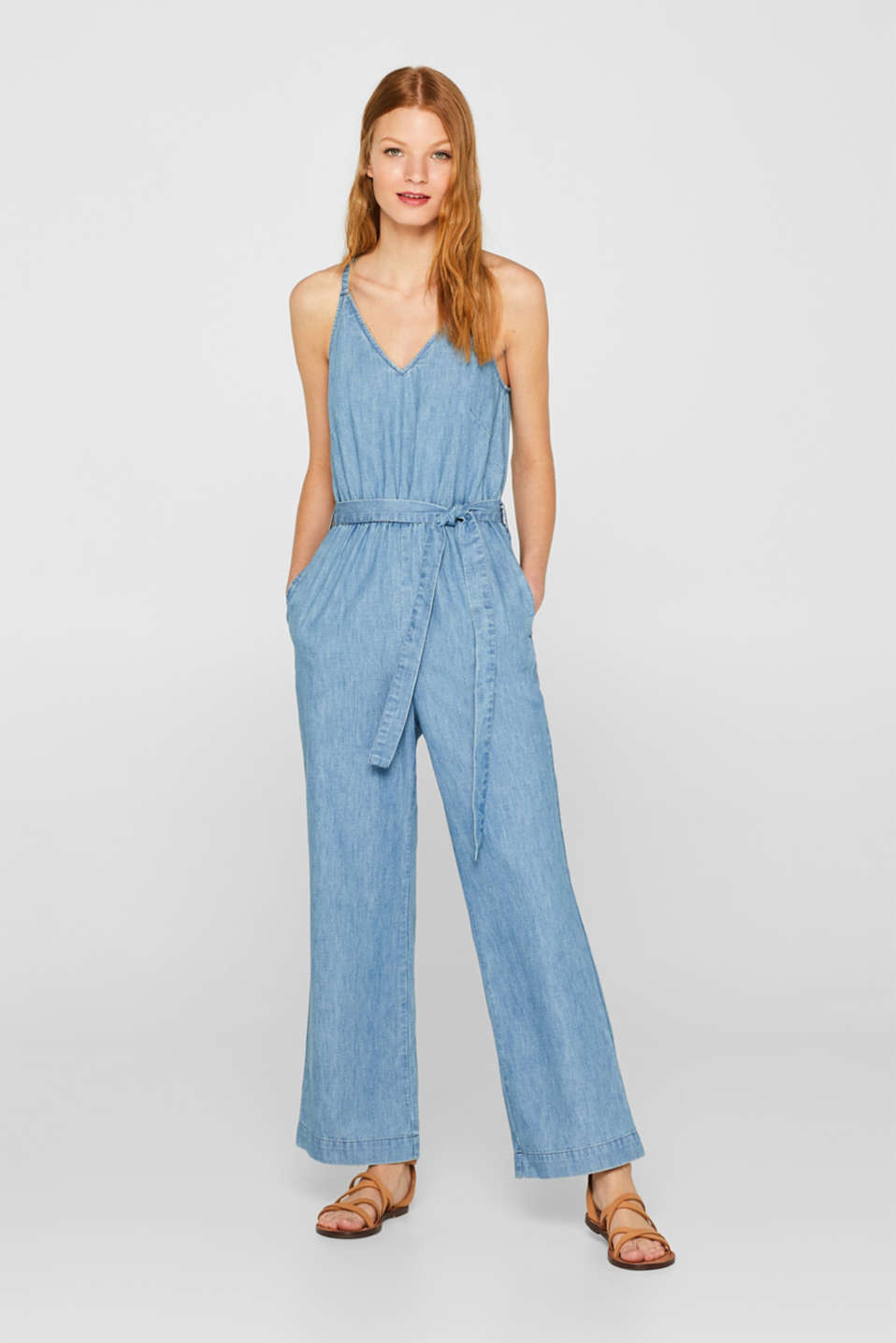 edc - Soft denim jumpsuit, 100% cotton
