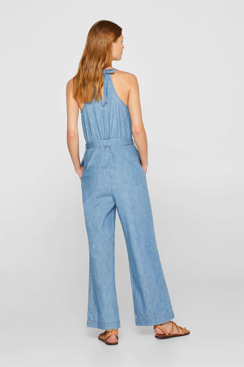 Soft denim jumpsuit, 100% cotton, BLUE LIGHT WASH, detail image number 2