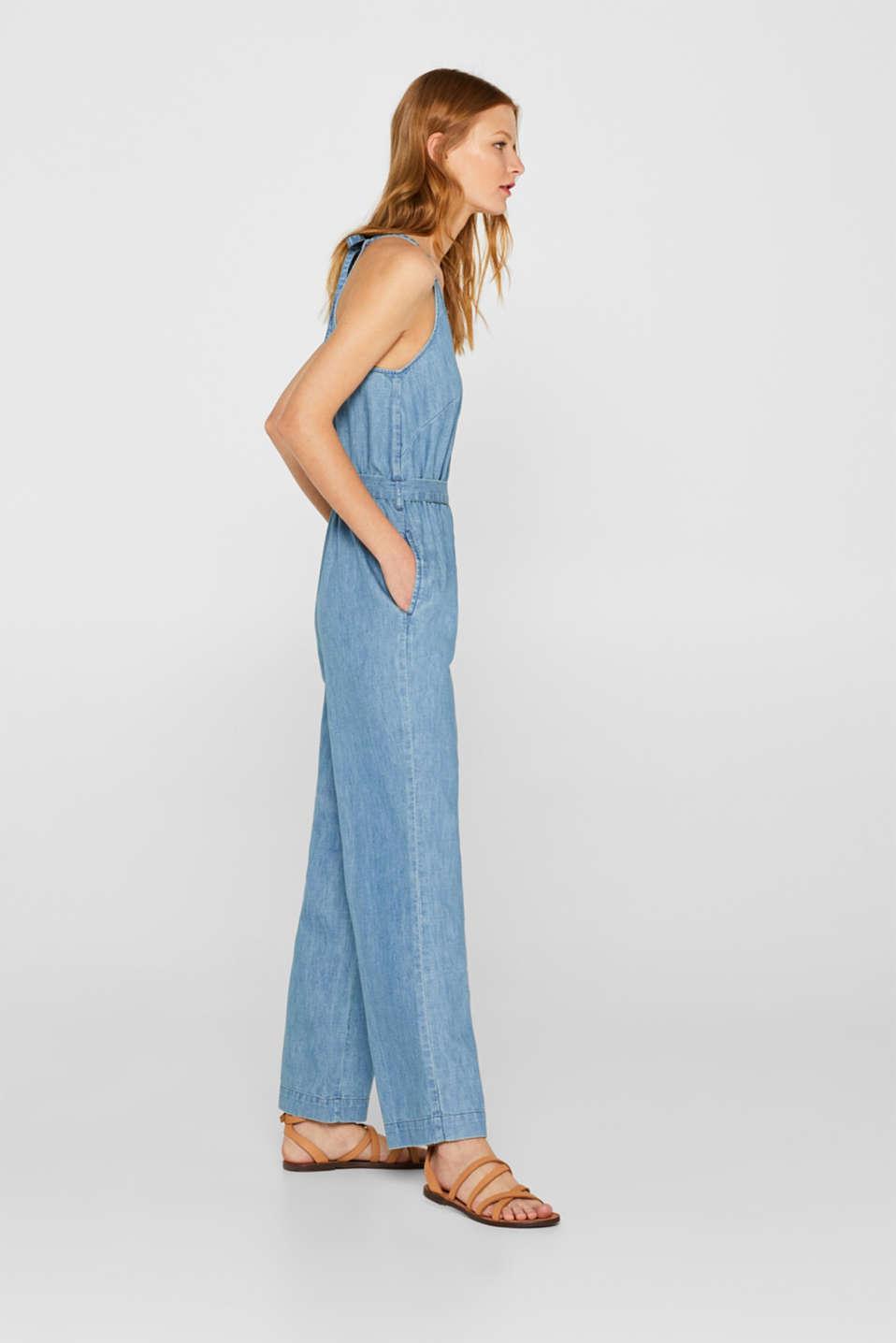 Soft denim jumpsuit, 100% cotton, BLUE LIGHT WASH, detail image number 4
