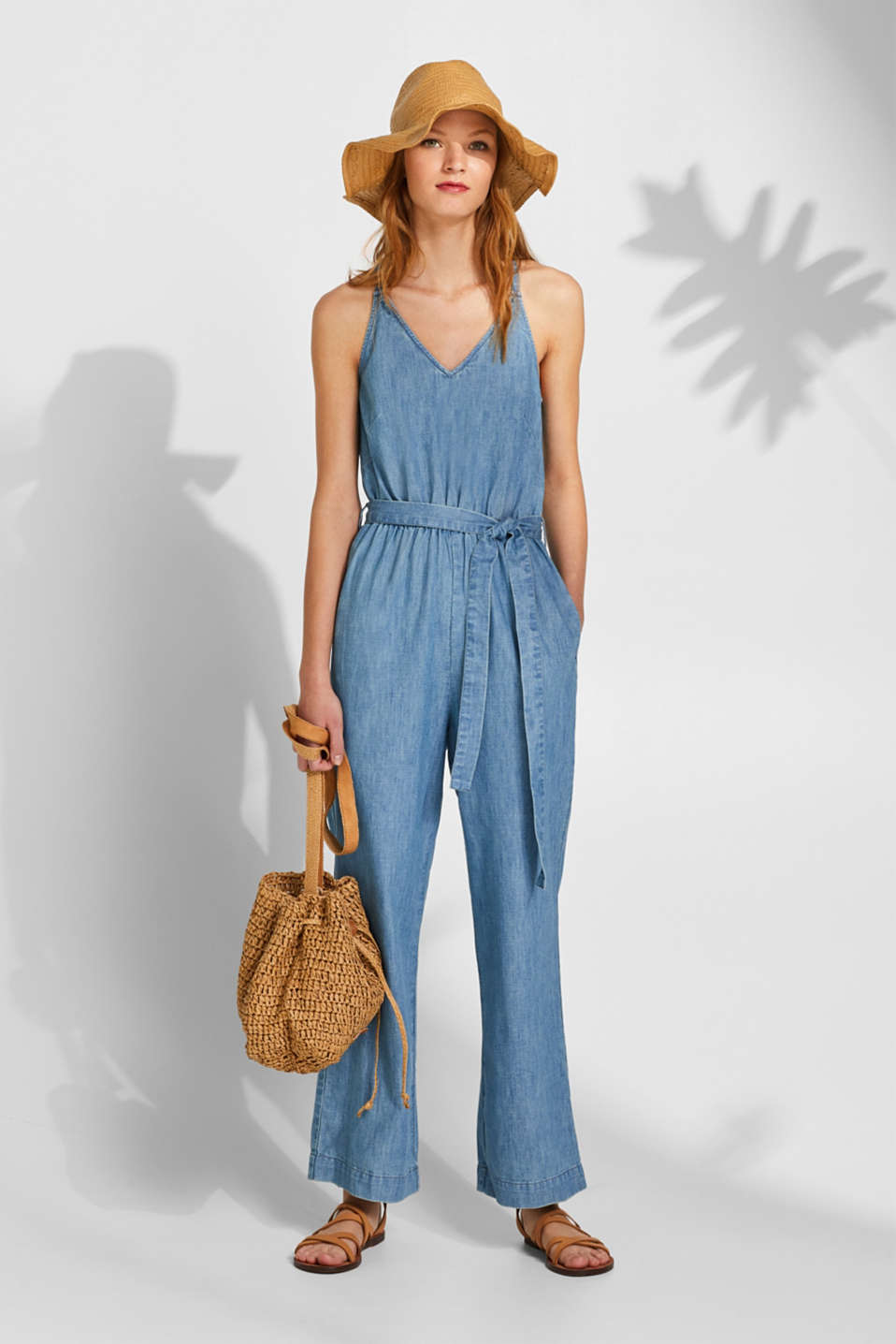 Soft denim jumpsuit, 100% cotton, BLUE LIGHT WASH, detail image number 1