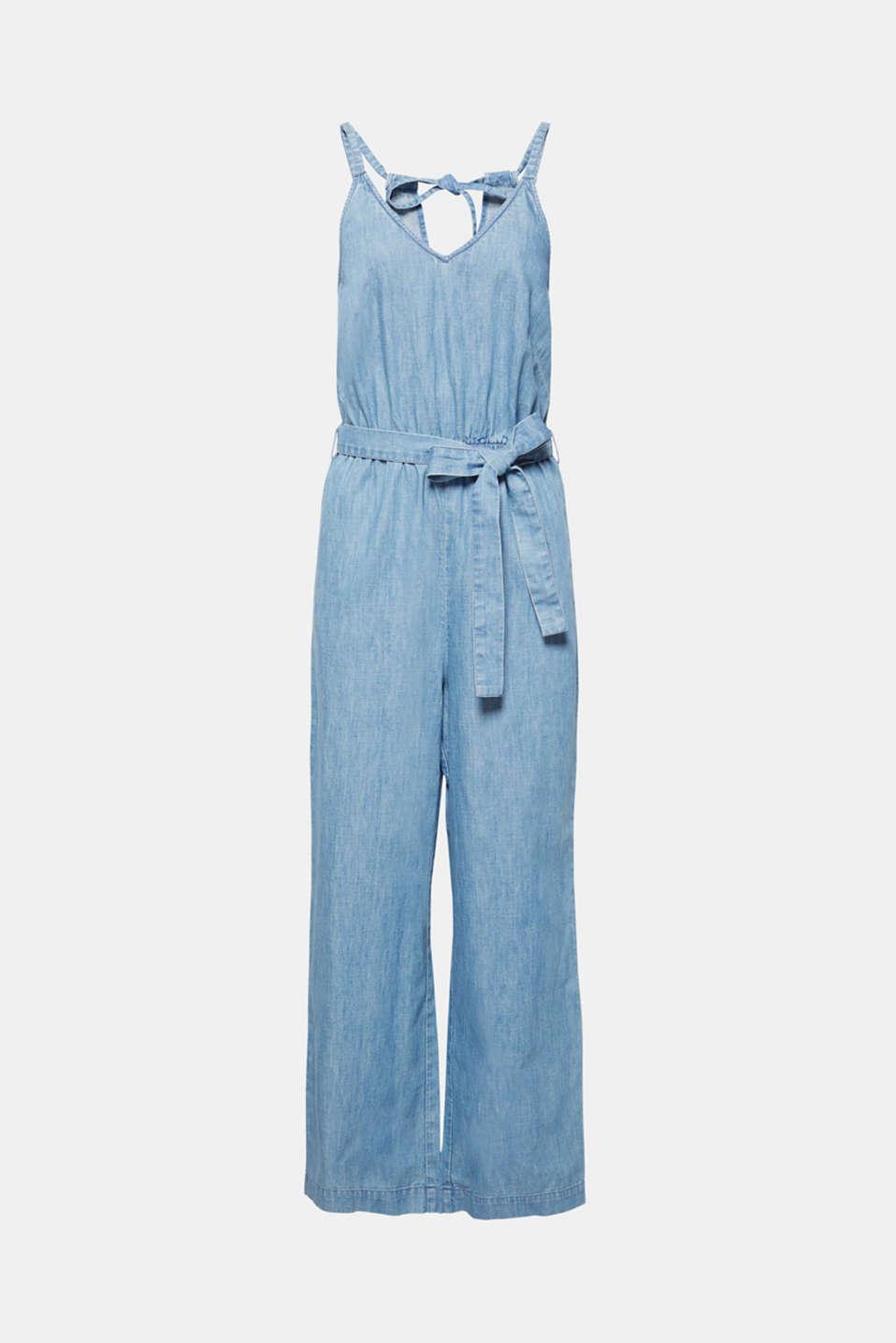 Soft denim jumpsuit, 100% cotton, BLUE LIGHT WASH, detail image number 7