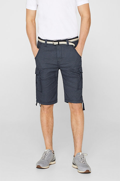 Cargo shorts with all-over print, 100% cotton