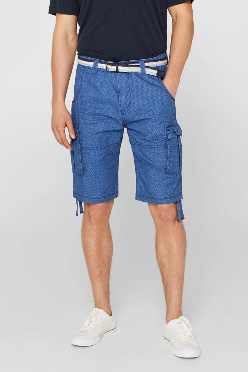 edc - Cargo shorts with all-over print, 100% cotton