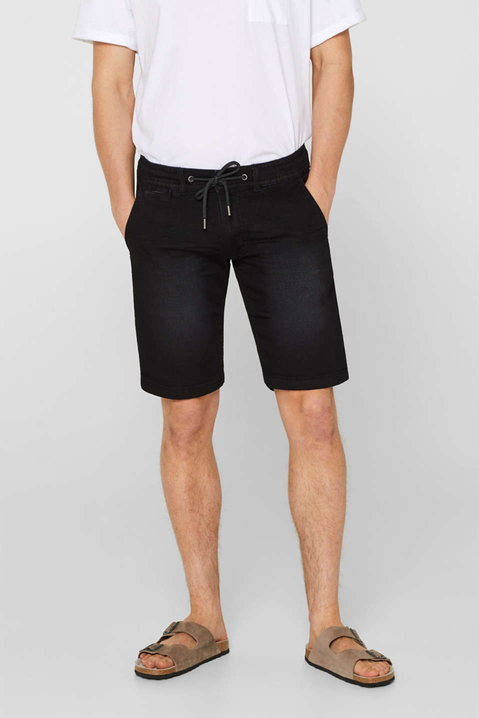 edc - Denim short van joggingstof