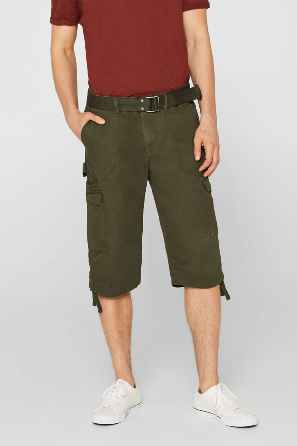edc - Cargo shorts with a belt, 100% cotton