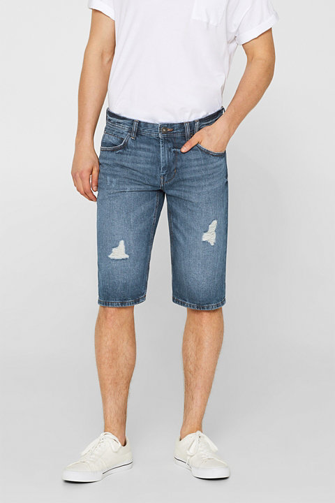 Distressed denim shorts made of 100% cotton