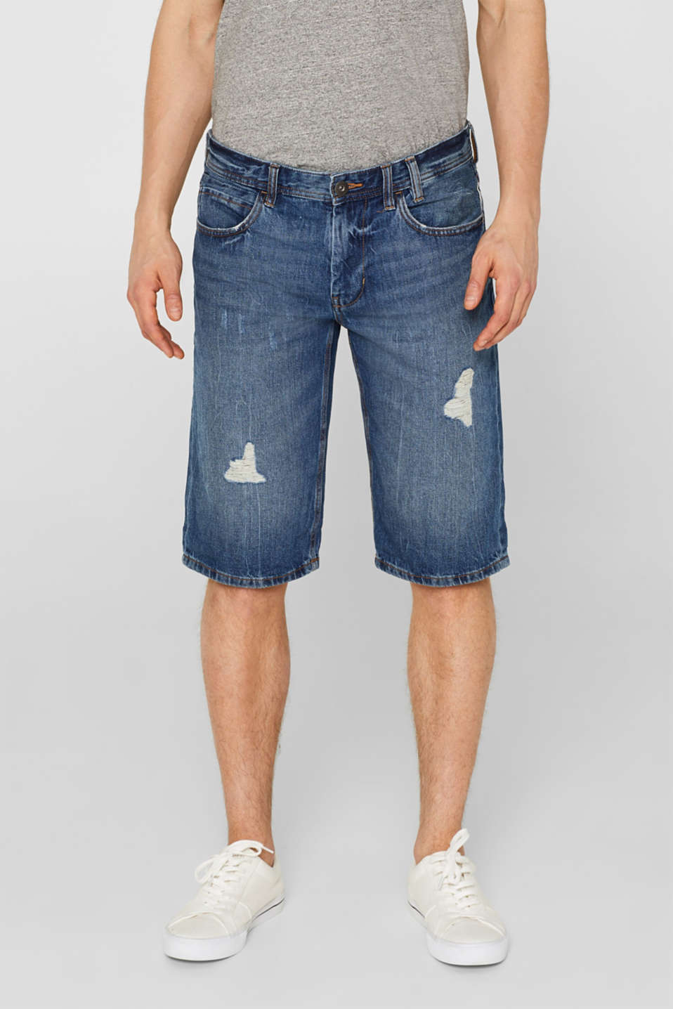 edc - Destroyed denim short van 100% katoen