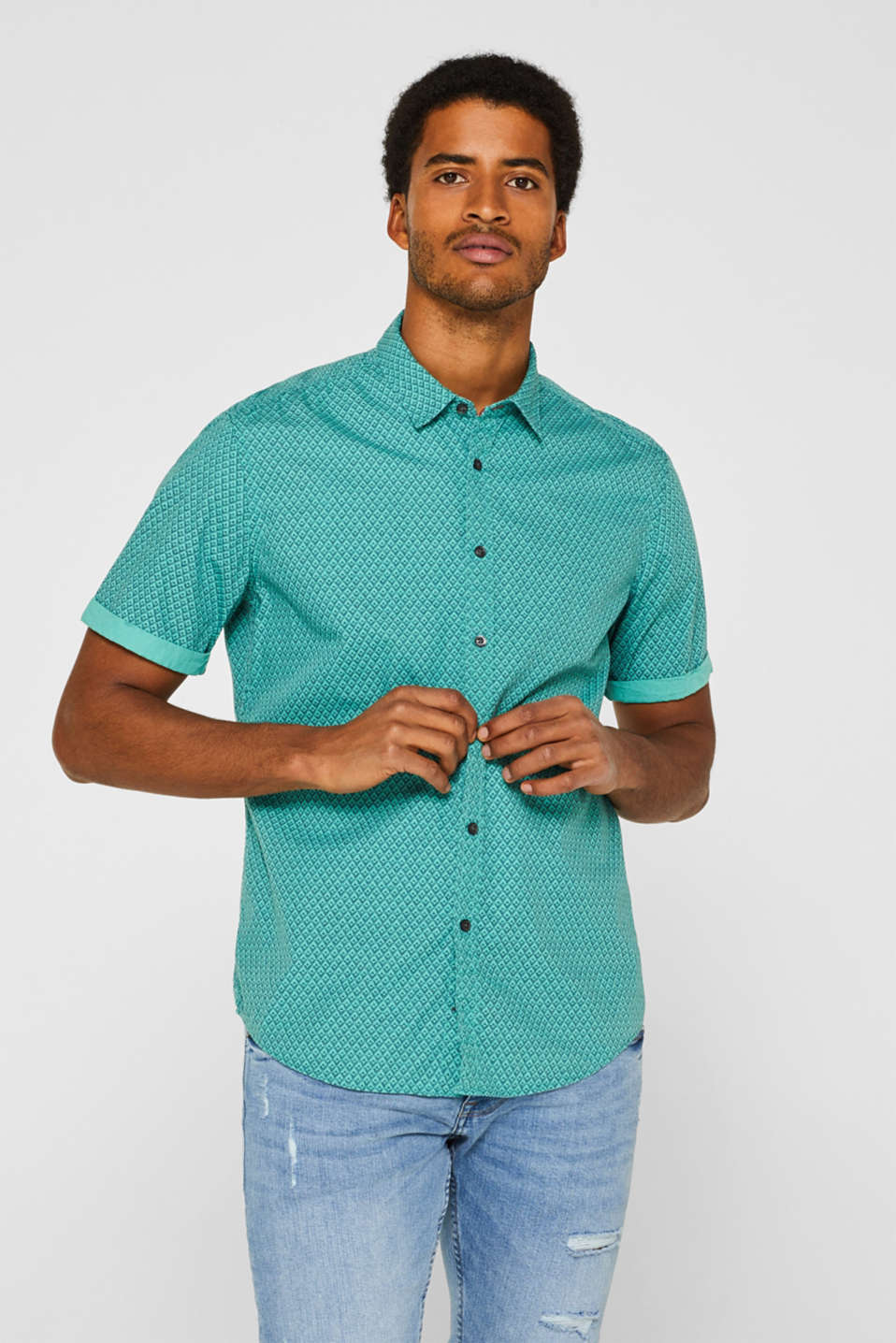 Shirts woven Slim fit, AQUA GREEN, detail image number 0