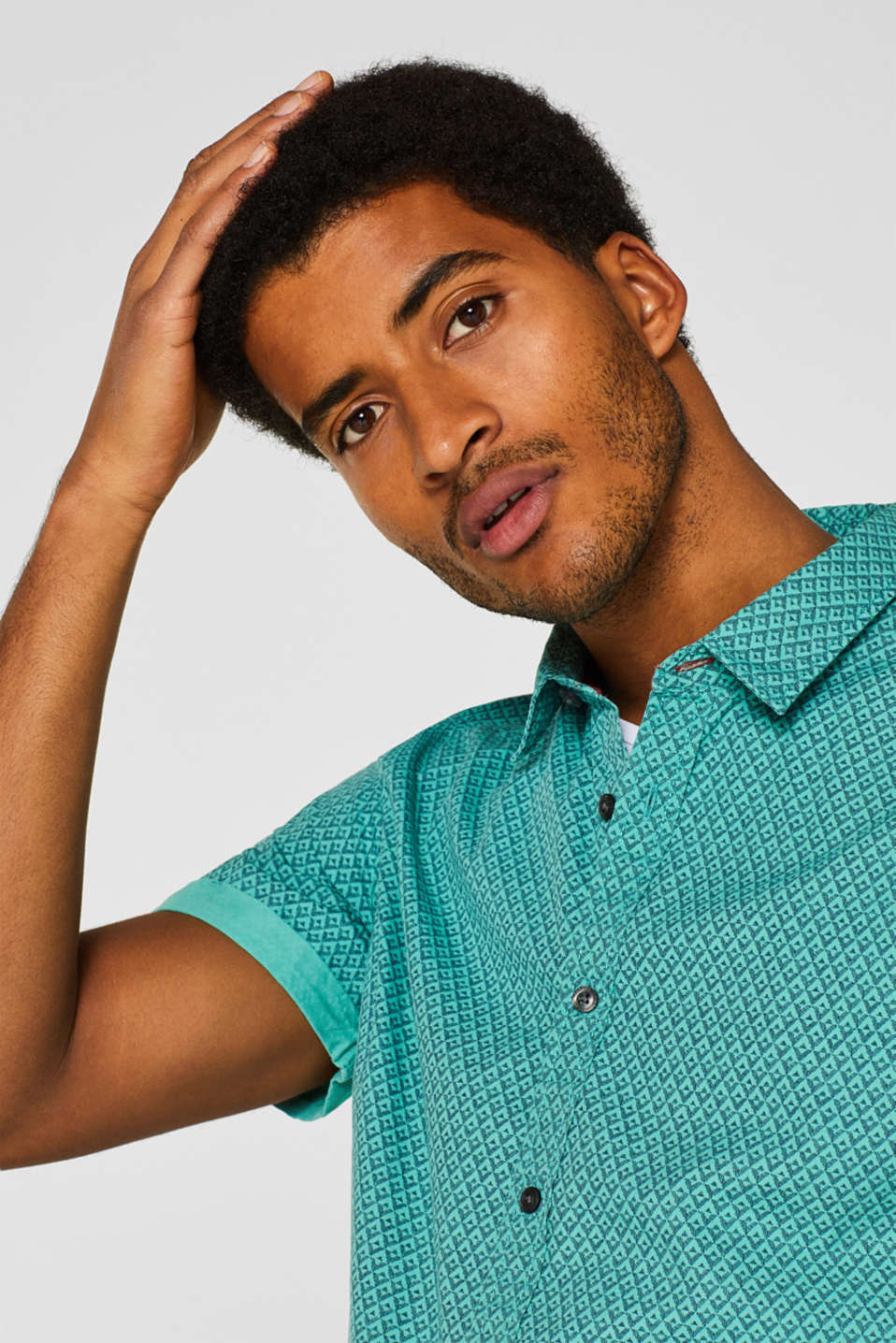 Shirts woven Slim fit, AQUA GREEN, detail image number 5
