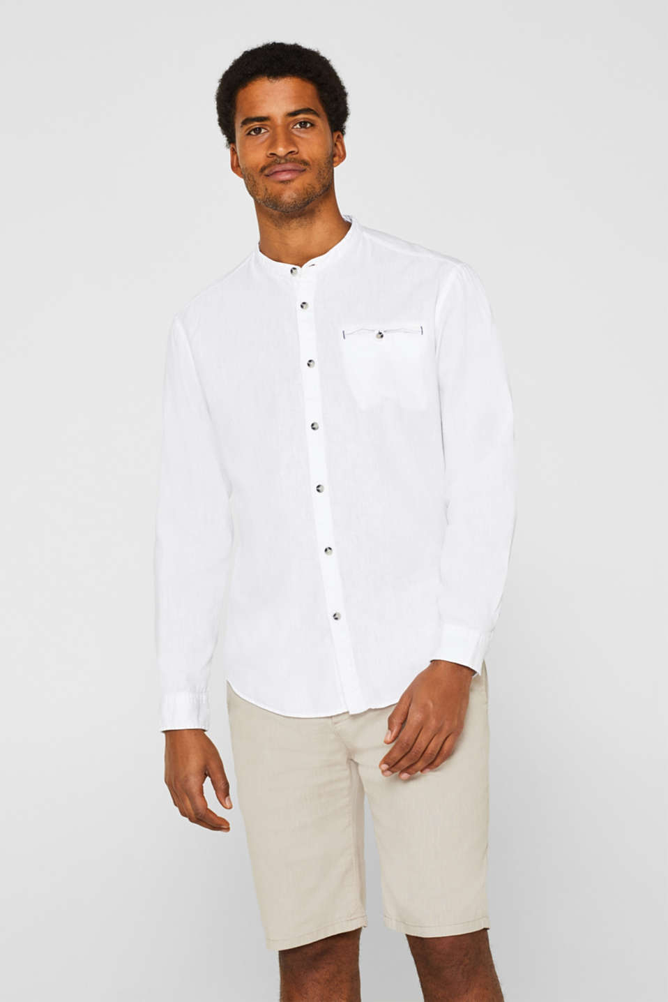 edc - Linen blend: shirt with a stand-up collar
