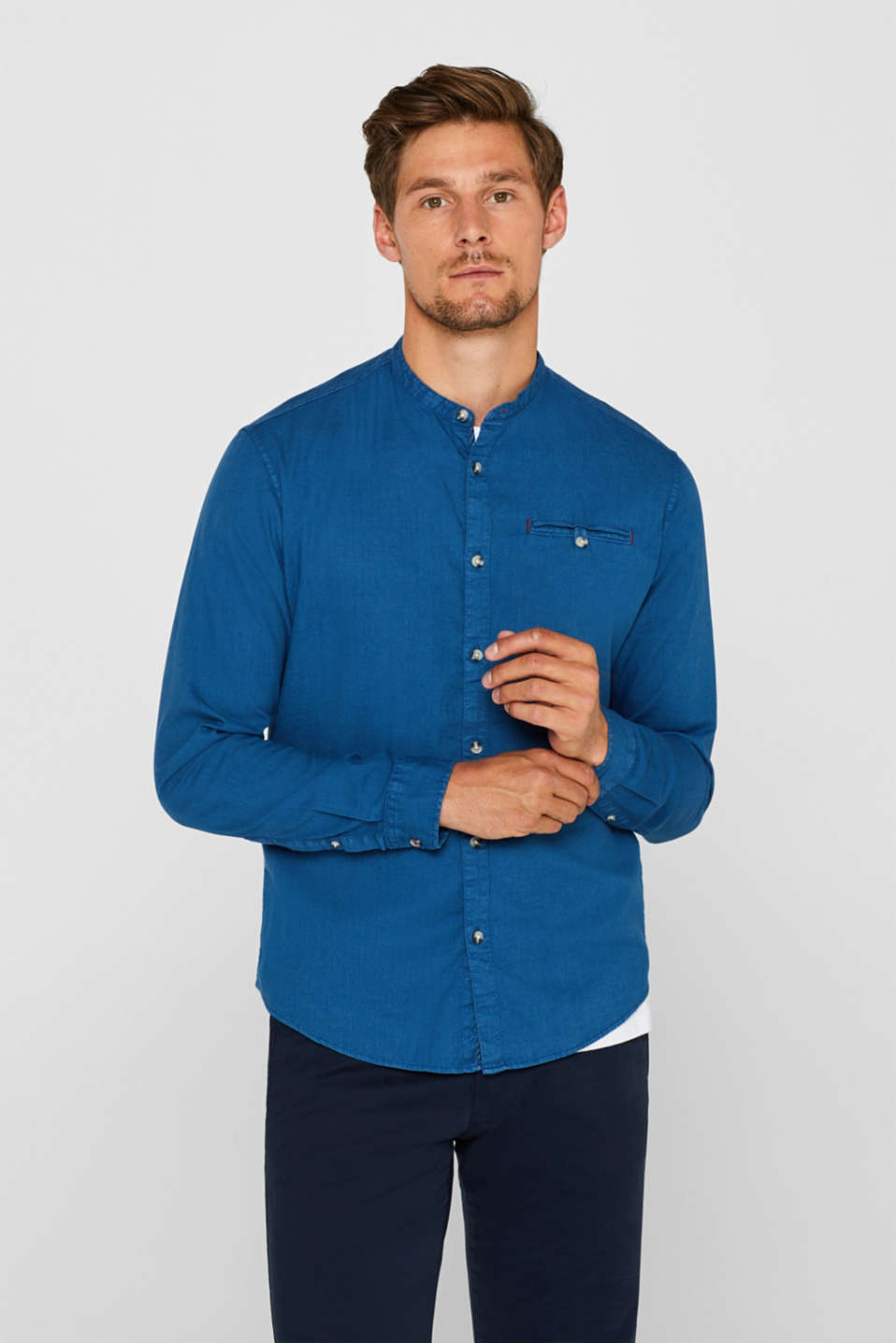 Linen blend: shirt with a stand-up collar