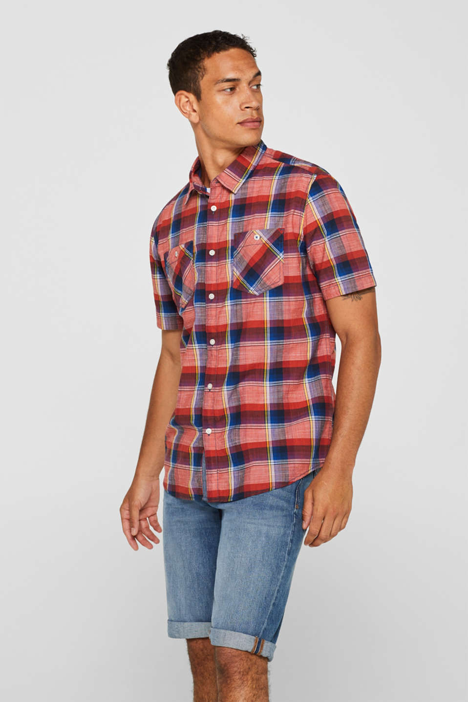 edc - Short sleeve shirt with a check pattern, 100% cotton