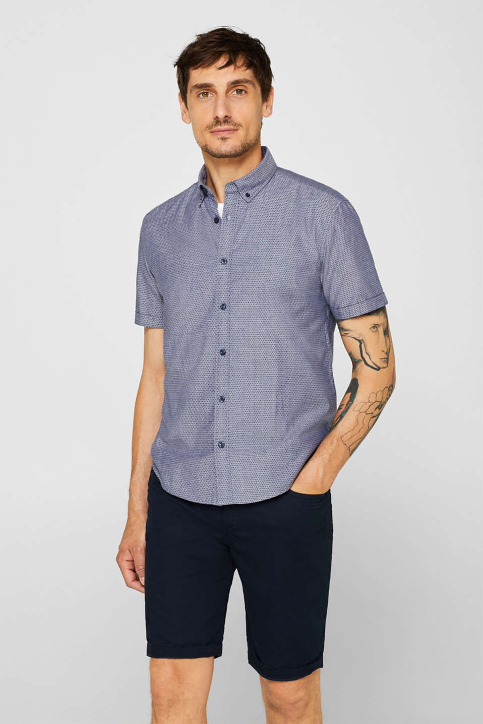 edc - Short-sleeved shirt with an all-over print, 100% cotton