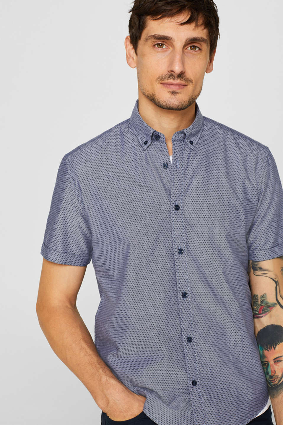 Short-sleeved shirt with an all-over print, 100% cotton
