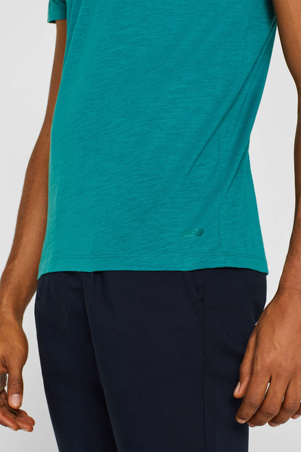 Slub jersey T-shirt in 100% cotton, DUSTY GREEN, detail image number 1