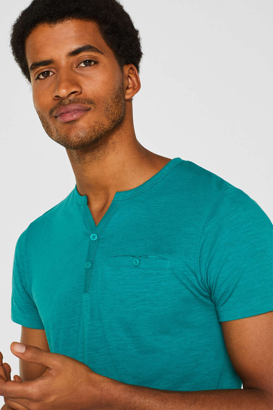 Slub jersey T-shirt in 100% cotton, DUSTY GREEN, detail image number 5