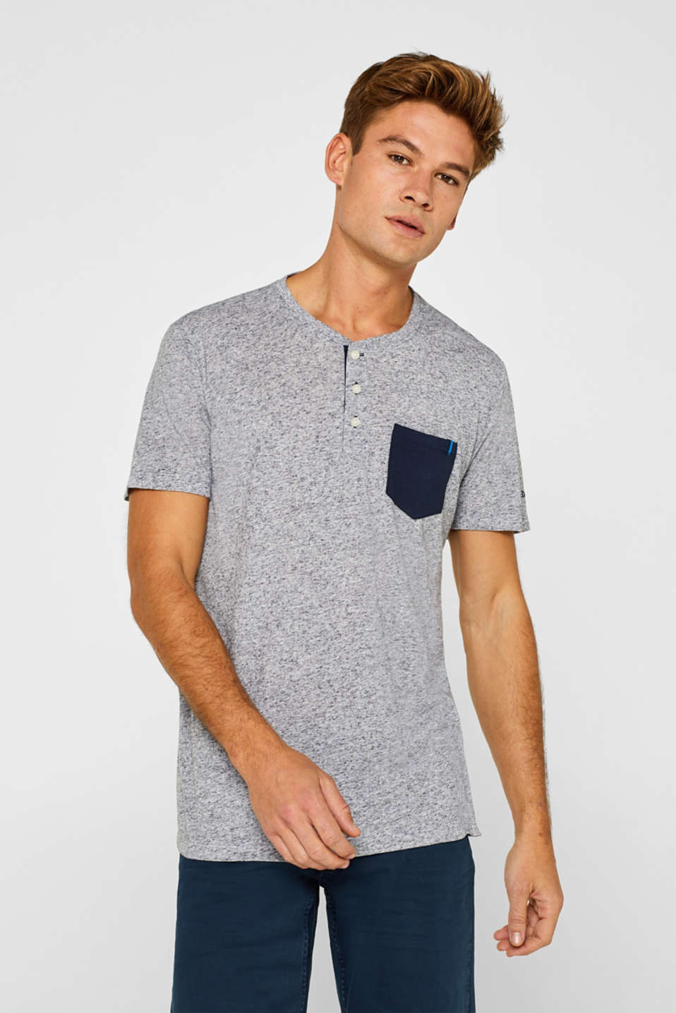 edc - Linen blend: jersey T-shirt with a dimpled finish