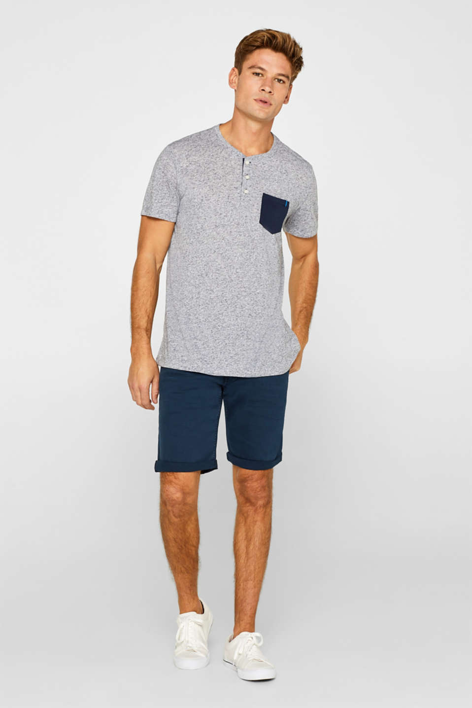 Linen blend: jersey T-shirt with a dimpled finish, NAVY, detail image number 4