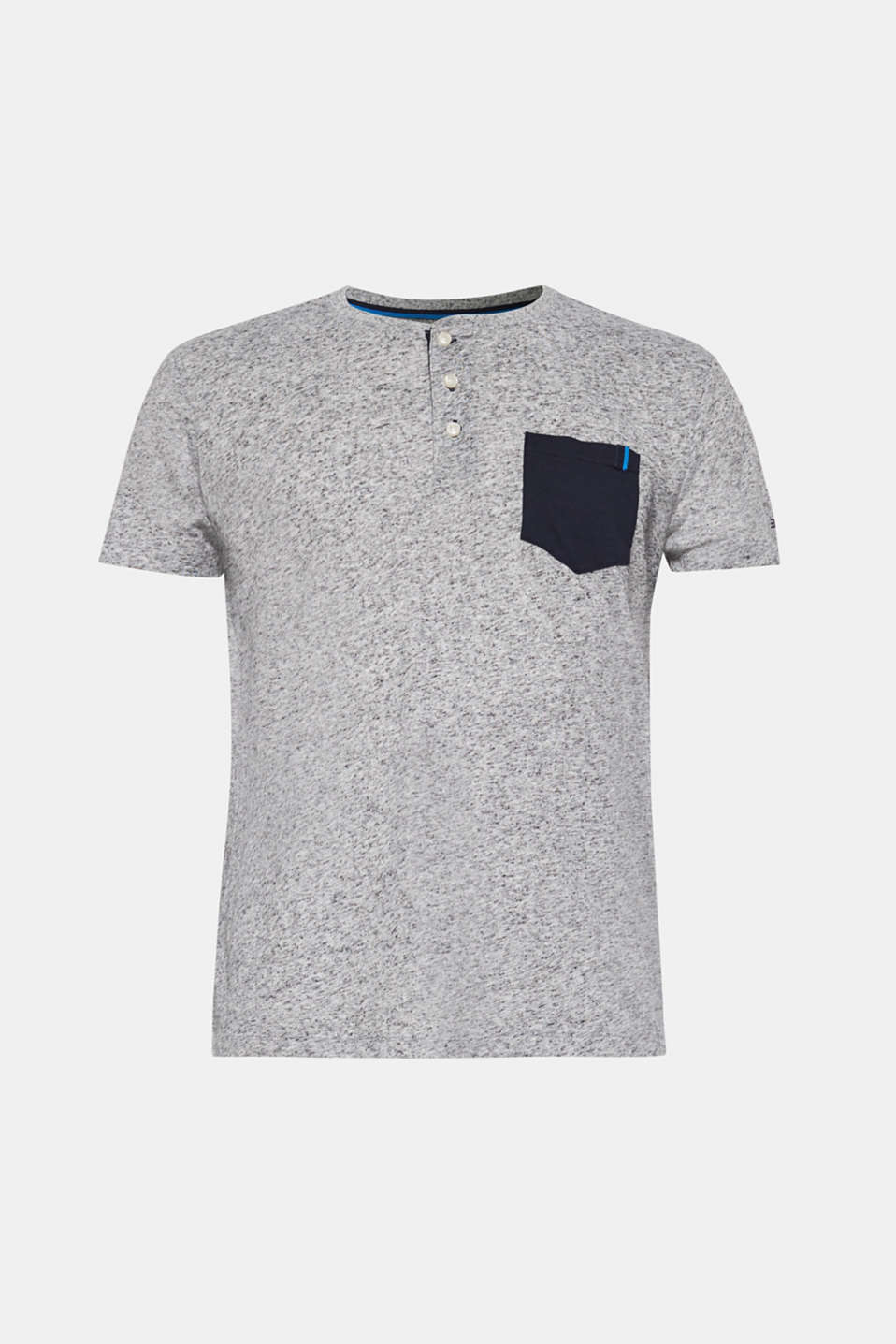 Linen blend: jersey T-shirt with a dimpled finish, NAVY, detail image number 8