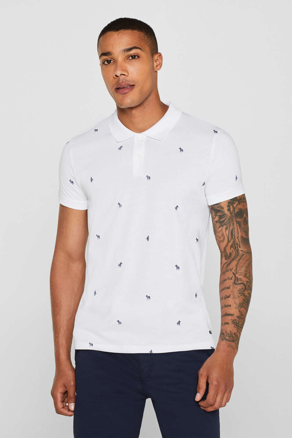 edc - Jersey polo shirt with print, 100% cotton