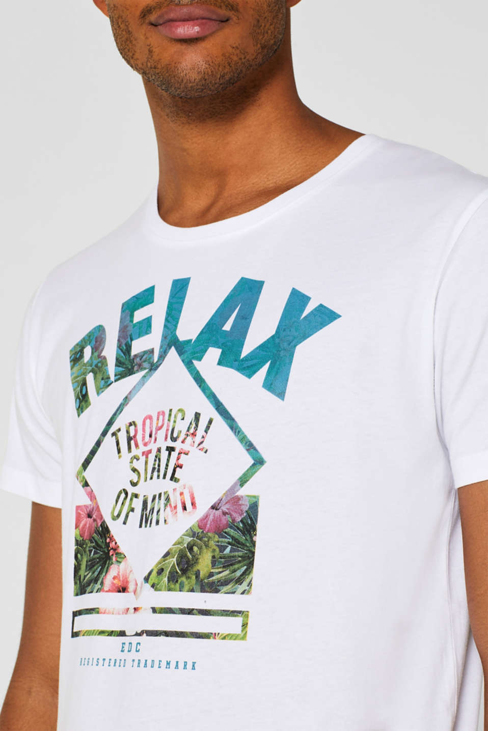 Jersey T-shirt with a print, 100% cotton, WHITE, detail image number 1
