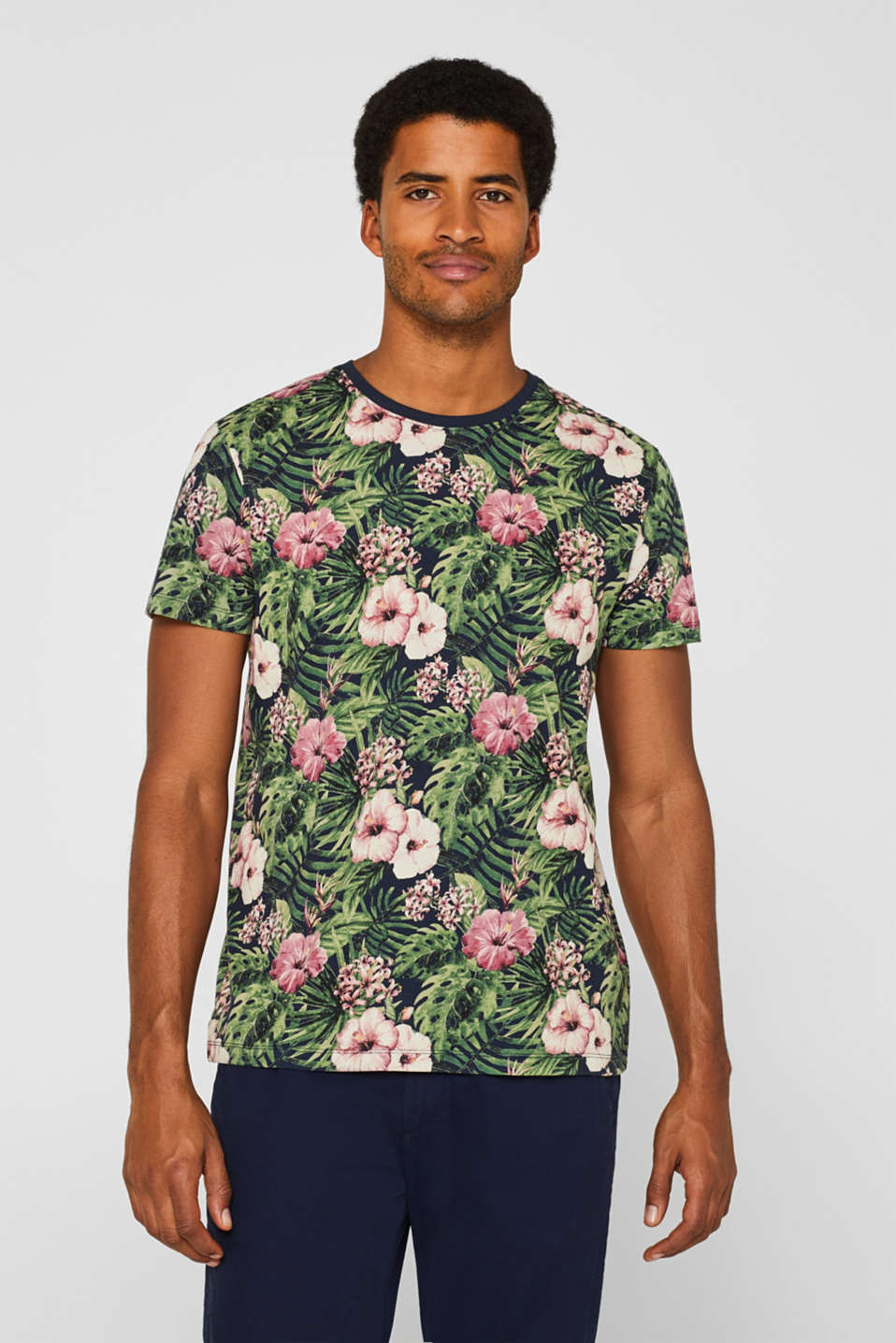 edc - Jersey T-shirt with a tropical print, 100% cotton