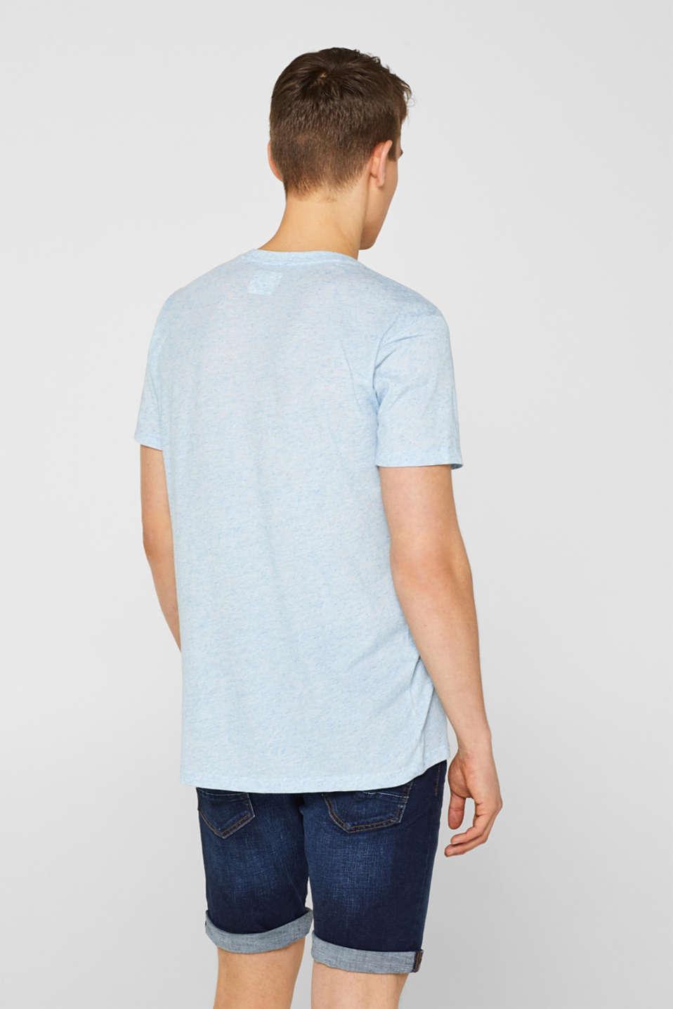 Linen blend: Jersey top with breast pocket, BLUE, detail image number 3
