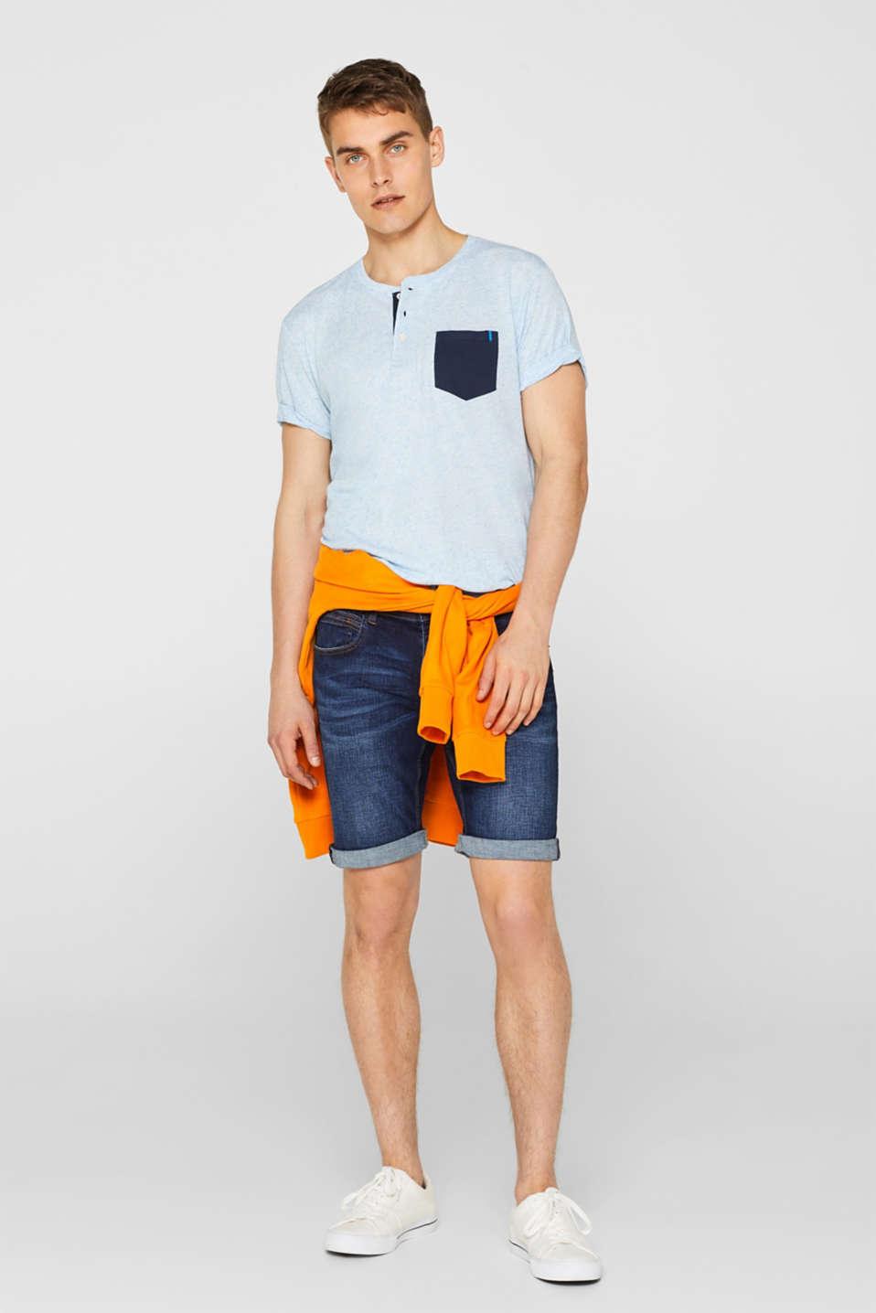Linen blend: Jersey top with breast pocket, BLUE, detail image number 2