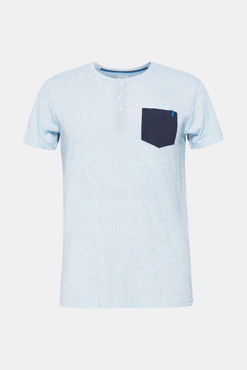 Linen blend: Jersey top with breast pocket, BLUE, detail image number 5