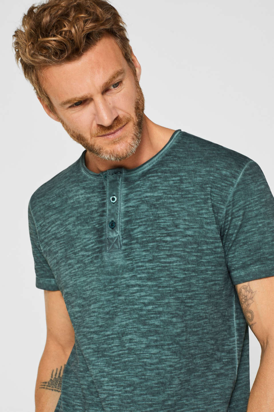 Jersey T-shirt in 100% cotton, TEAL BLUE, detail image number 1