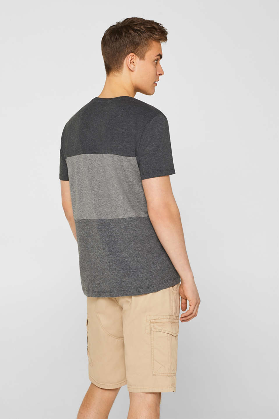 Jersey T-shirt with block stripes, MEDIUM GREY, detail image number 3