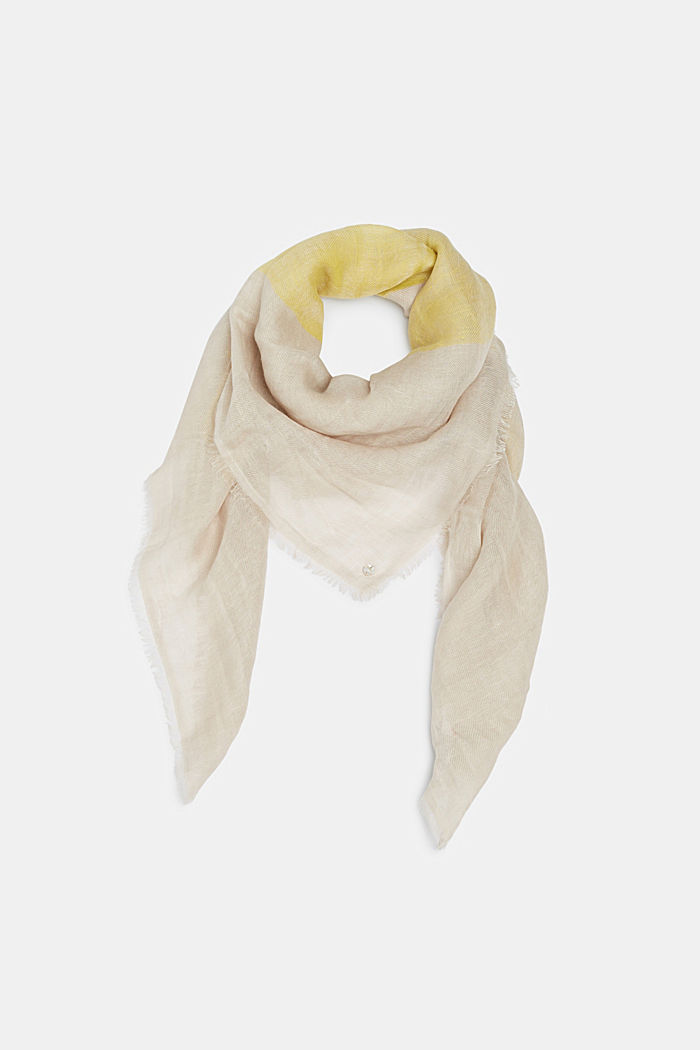 En lin mélangé: foulard à carreaux tissés, YELLOW, detail image number 0
