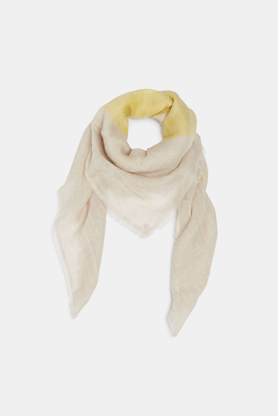 Esprit - Made of blended linen: scarf with woven check pattern