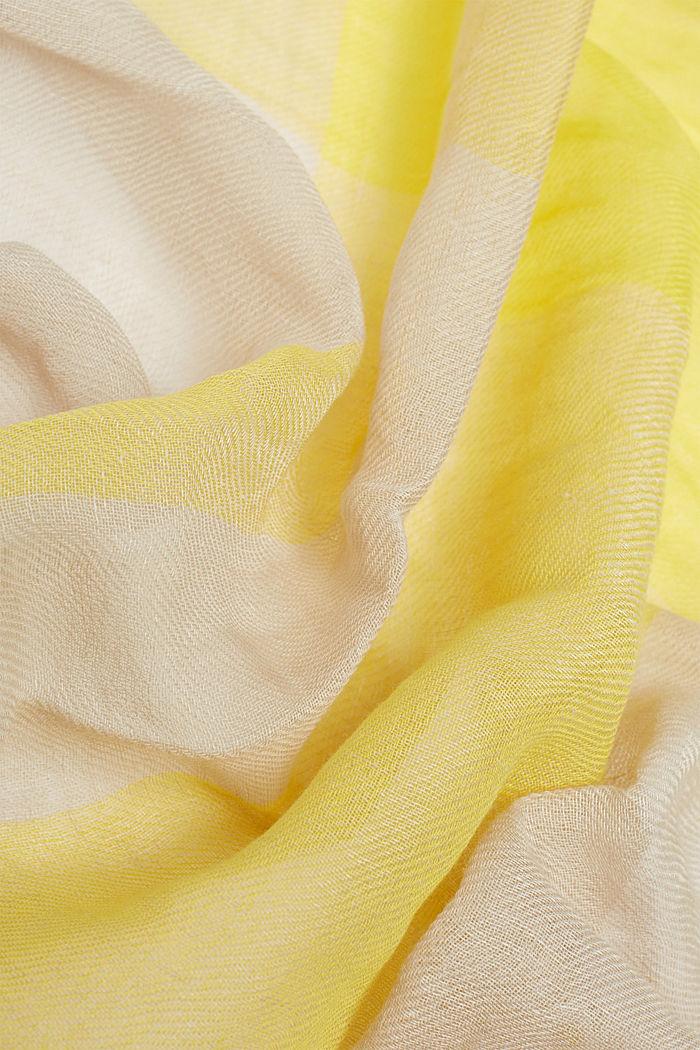 En lin mélangé: foulard à carreaux tissés, YELLOW, detail image number 1
