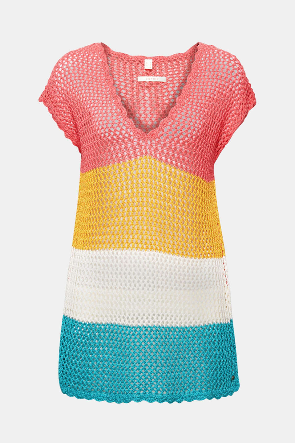 Esprit - Striped, crocheted poncho in a slip-on design