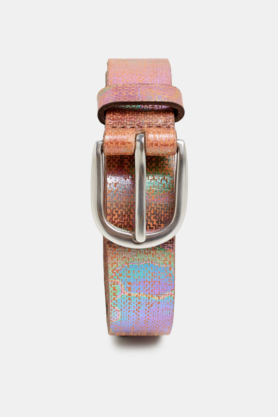 Esprit - Metallic belt with a camouflage pattern, in leather