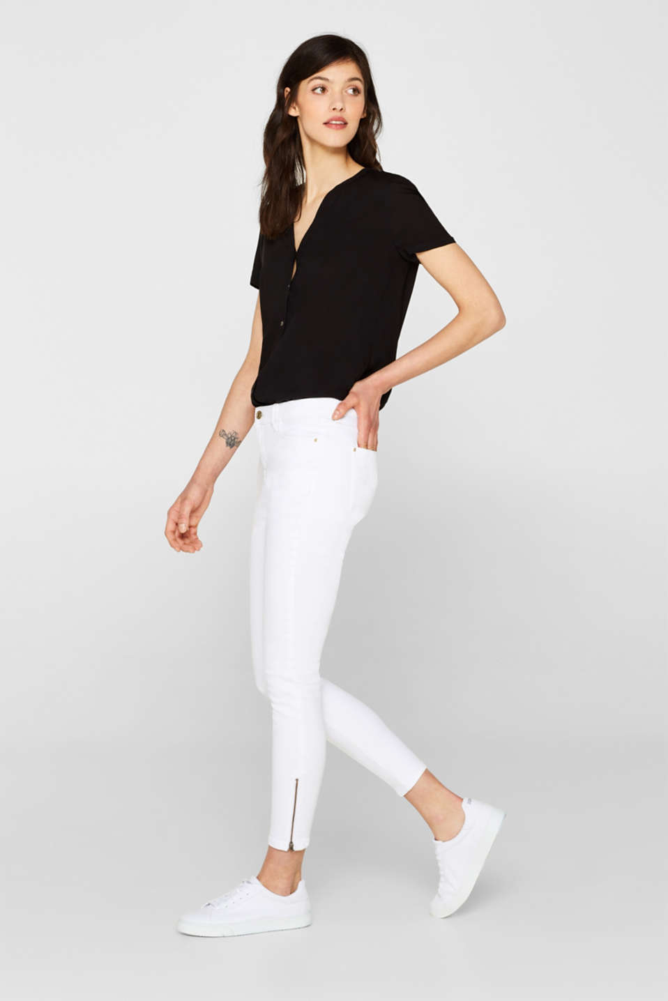 Esprit - Ankle-length stretch jeans with hem zips