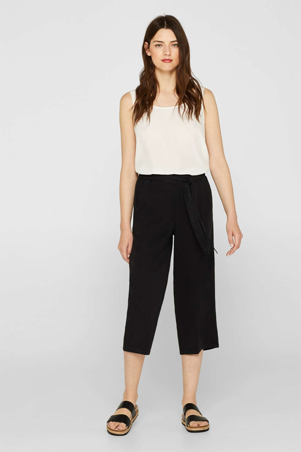 Esprit - Lyocell culottes with a tie-around belt