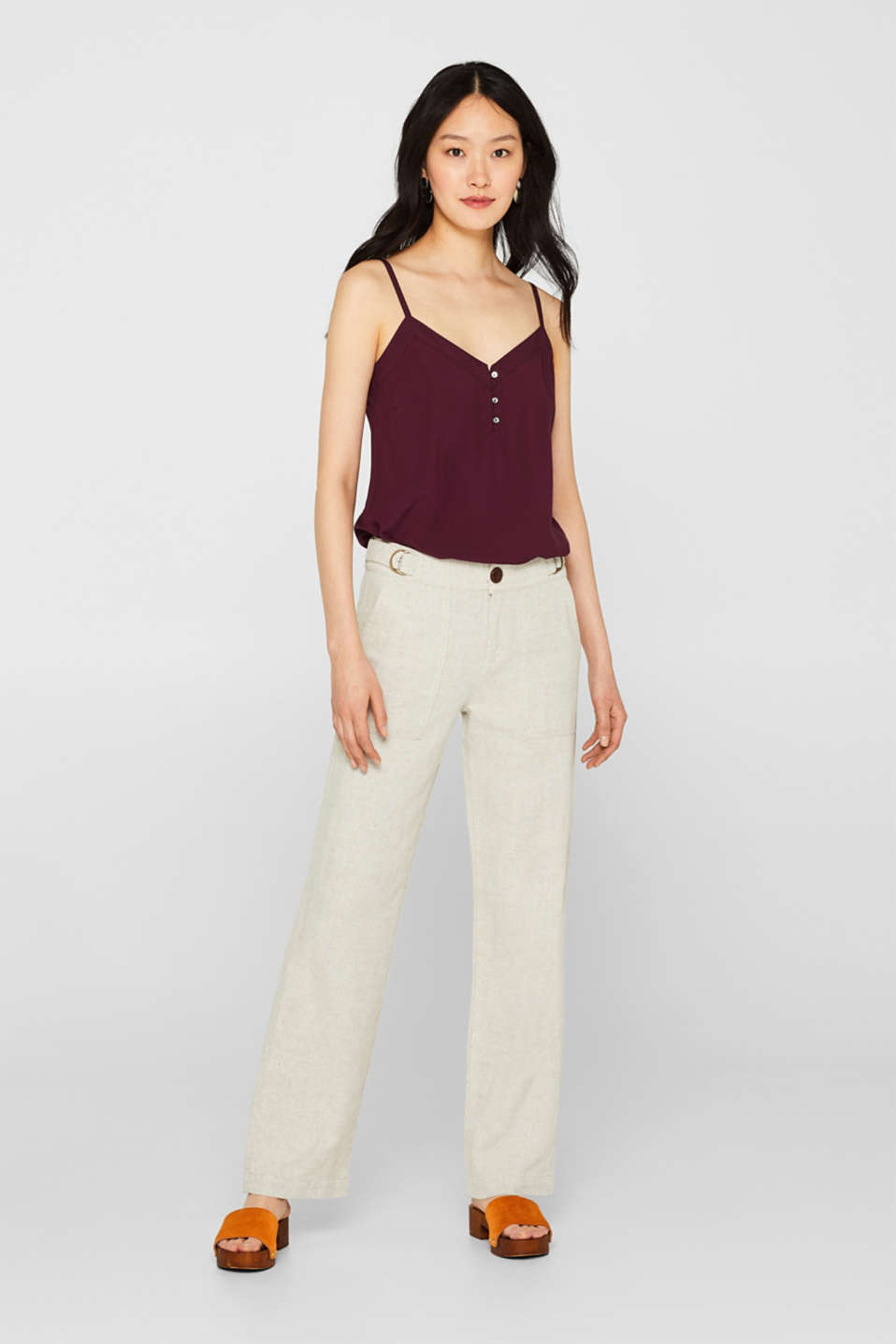 Esprit - Made of blended linen: wide leg trousers
