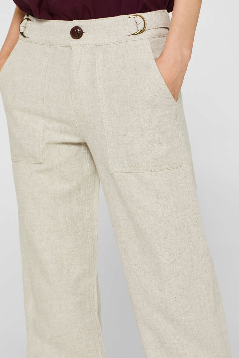 Pants woven, CREAM BEIGE, detail image number 2