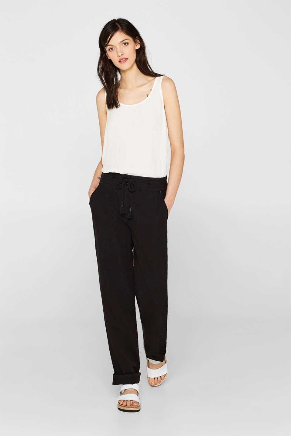 Esprit - Blended linen: Textured tracksuit bottoms