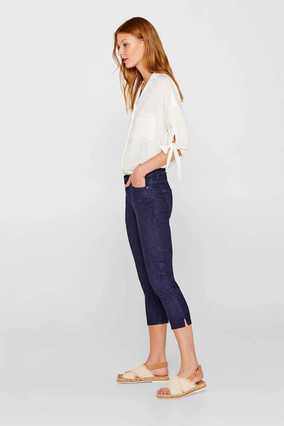 Stretch capri jeans with organic cotton
