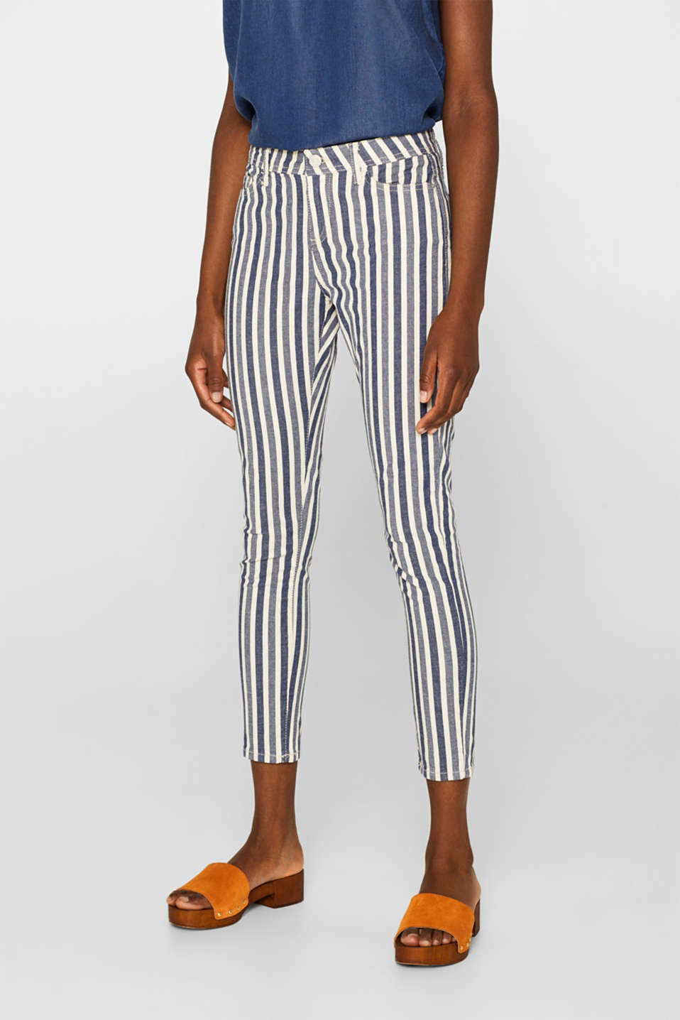 Esprit - Stretch jeans with stripes and organic cotton